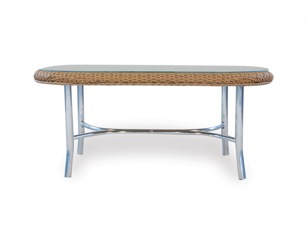 Lloyd flanders weekend retreat oval wicker cocktail table for Coffee tables with seating