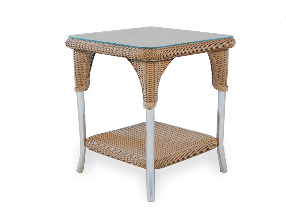 "Lloyd Flanders 22"" Square Wicker End Table"