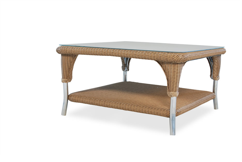 Lloyd flanders square wicker coffee table wicker coffee for Square coffee table with seating underneath