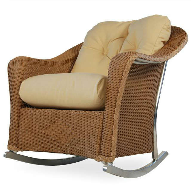 Lloyd Flanders Reflections Wicker Lounge Rocker on rattan rocking chair replacement cushions