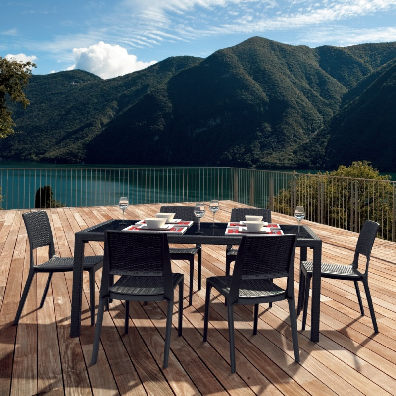 Compamia Miami Square 7 Piece Wicker Dining Set