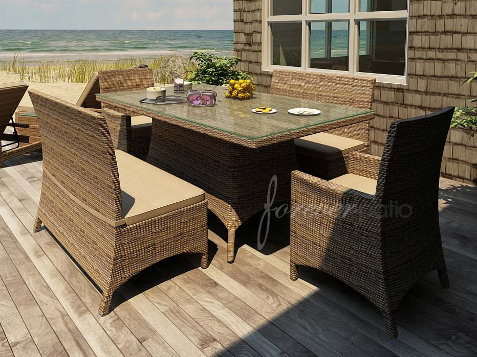 Forever Patio Cypress Wicker Dining Bench