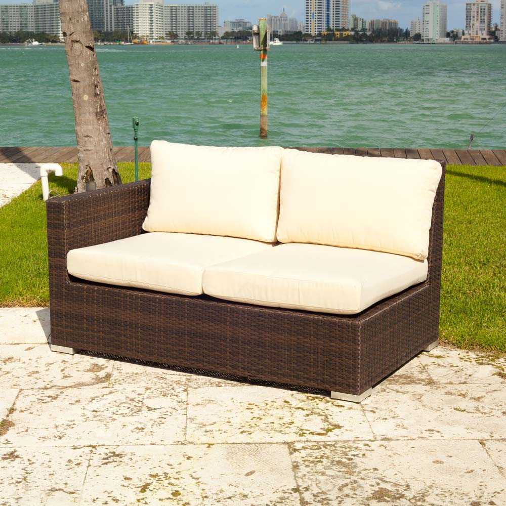 Source Outdoor Lucaya Wicker Left Arm Facing Sectional Loveseat