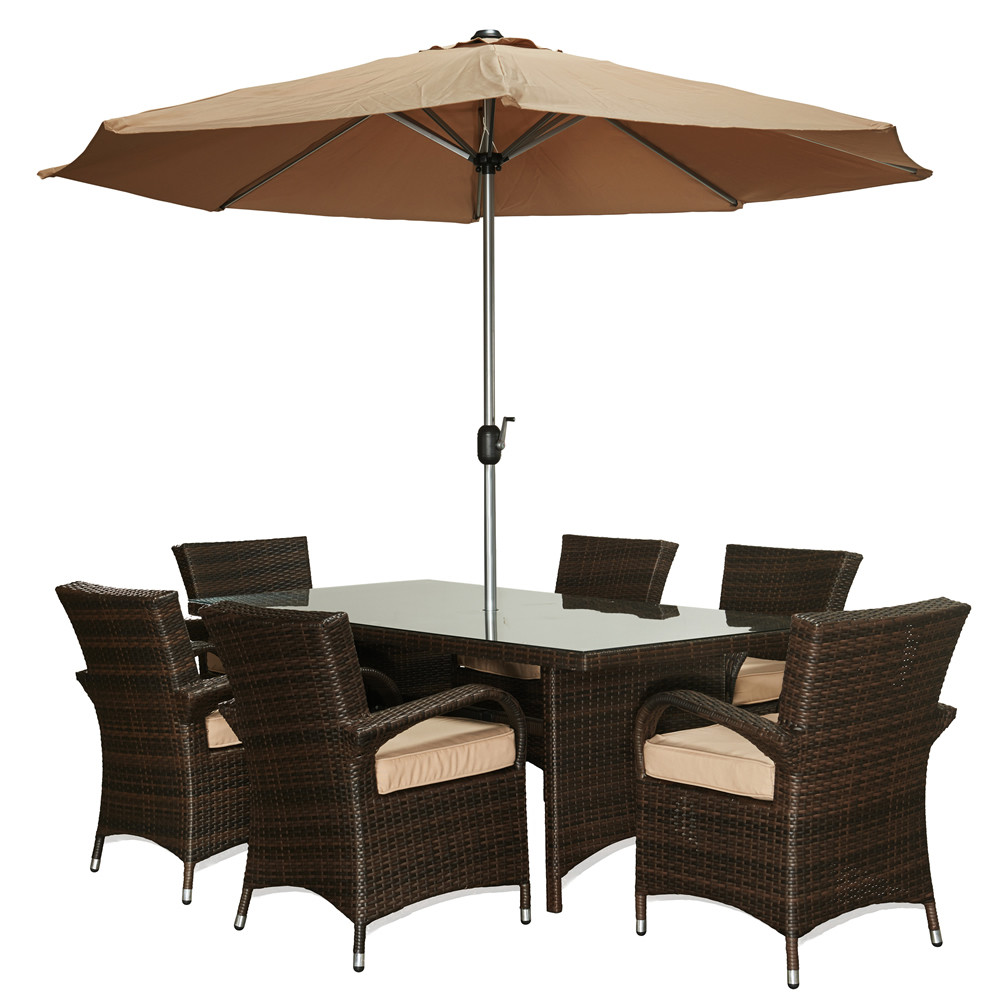 The Hom Bora 8 Piece Wicker Dining Set