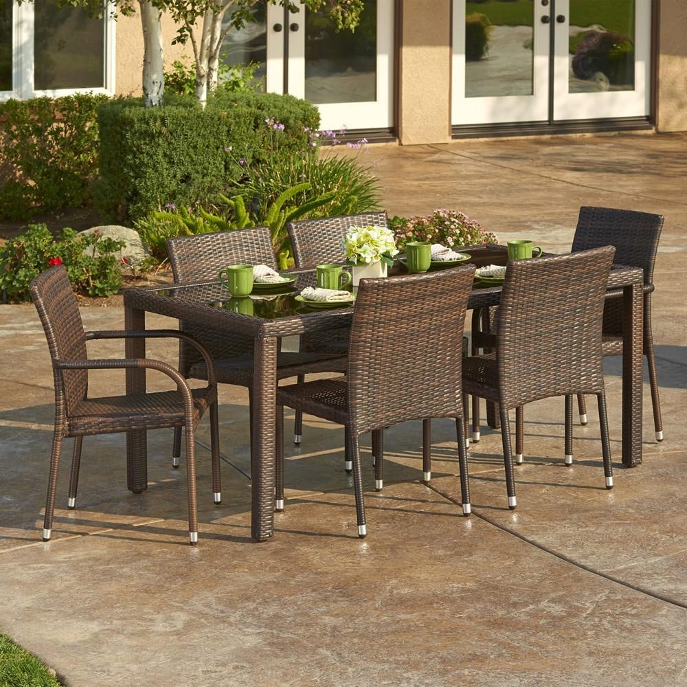 Thy hom toria 7 piece wicker dining set modern wicker for Hom patio furniture