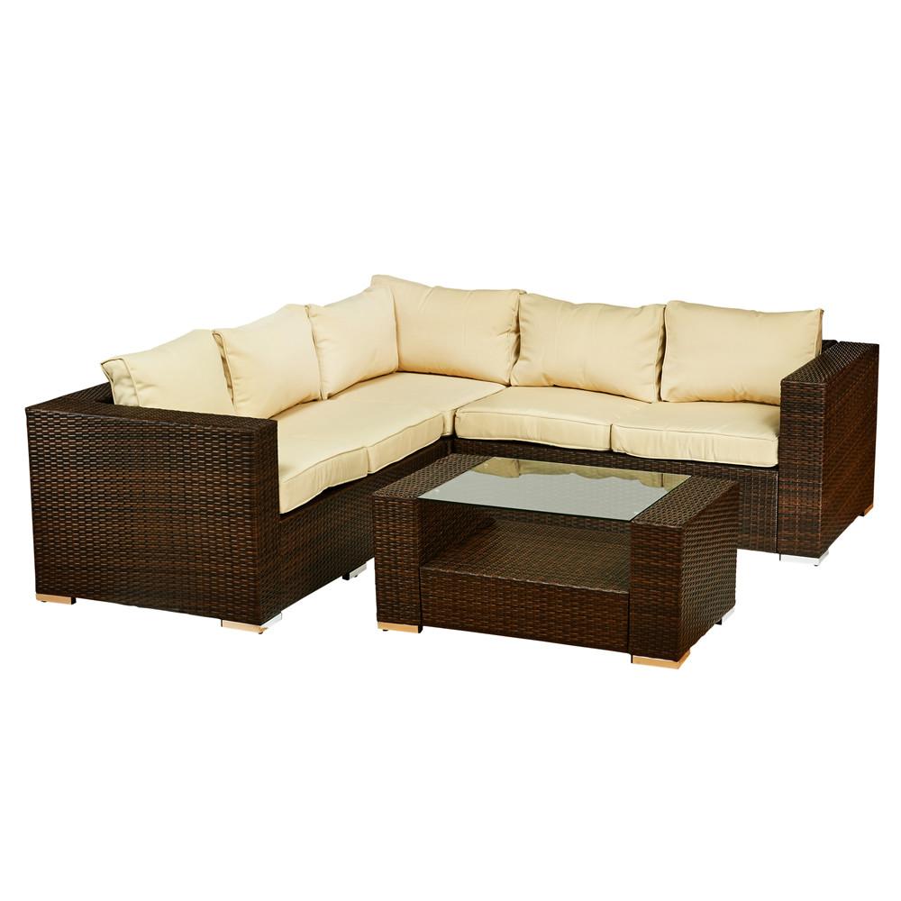 thy hom kessler 4 piece wicker sectional set modern. Black Bedroom Furniture Sets. Home Design Ideas