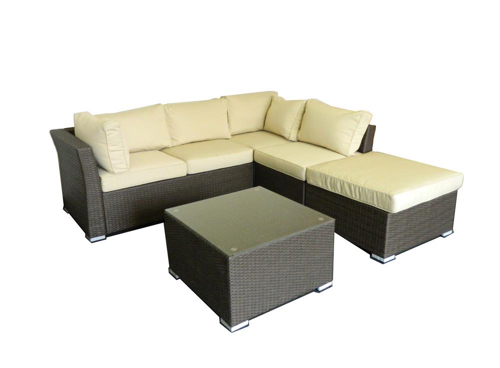 ... Thy   HOM Jicaro 5 Piece Wicker Sectional Set   Dark Brown Wicker With  Beige Cushions ...