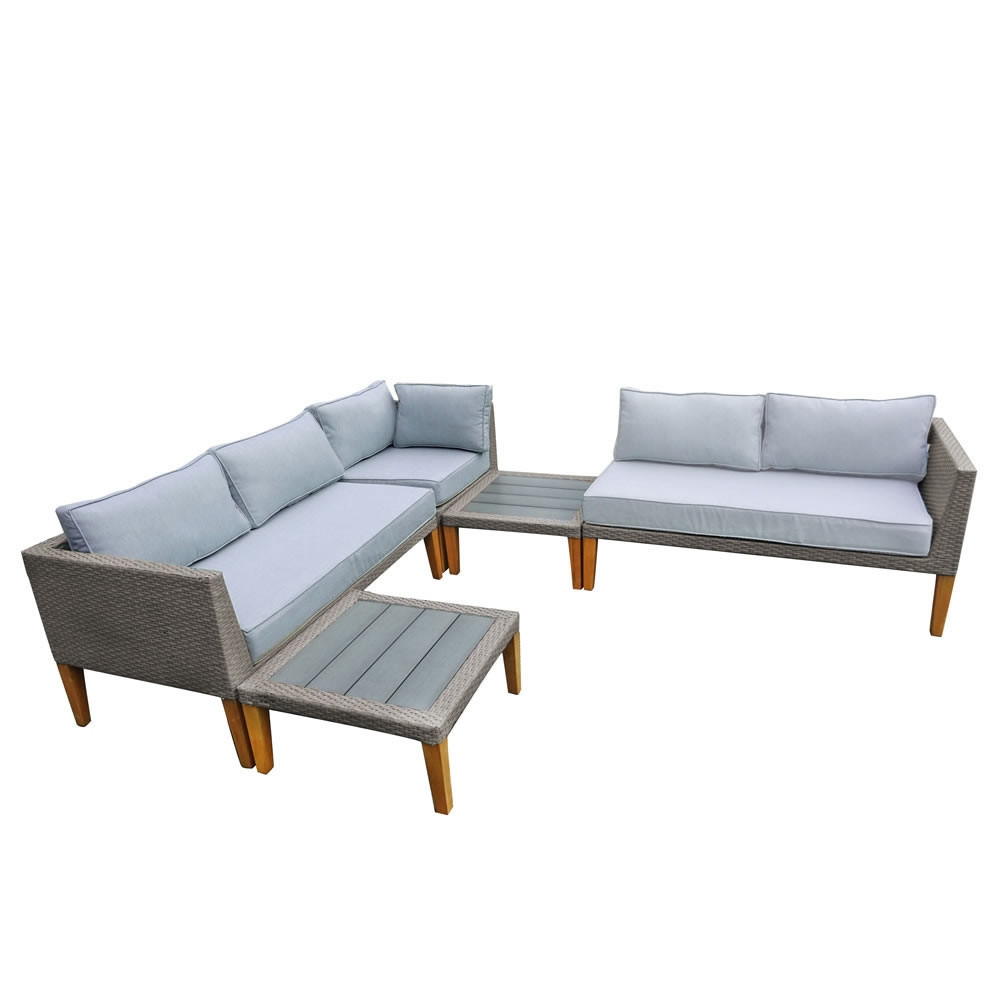 Thy hom turin 5 piece wicker sectional set modern for Hom furniture inc