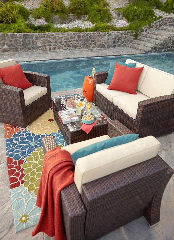 Thy hom bahia 4 piece wicker coversation set 4 5 for Hom patio furniture