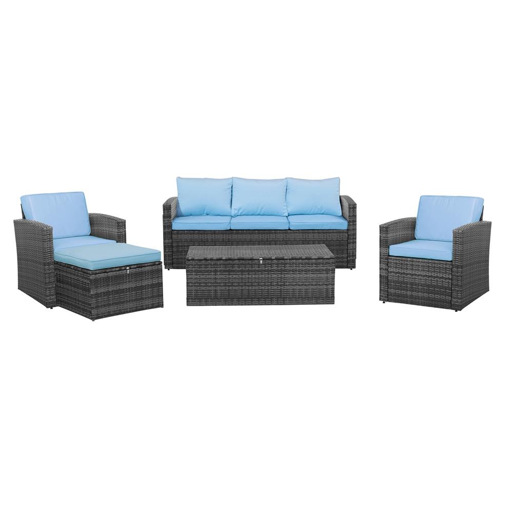 Thy hom rio 5 piece wicker conversation set 4 5 person for Hom furniture inc