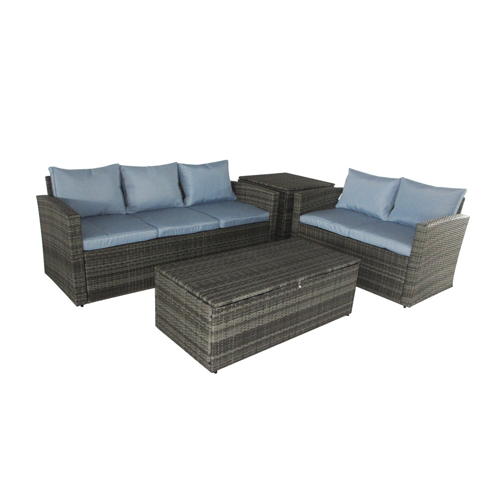 Thy hom rio 4 piece wicker conversation set 4 5 person for Hom furniture inc
