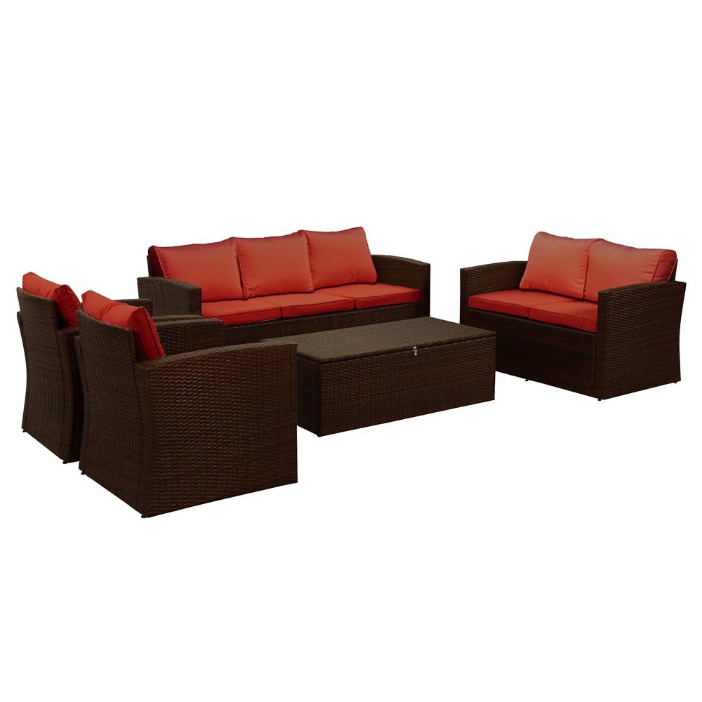 Thy hom rio 5 piece wicker conversation set 6 7 person for Hom furniture inc