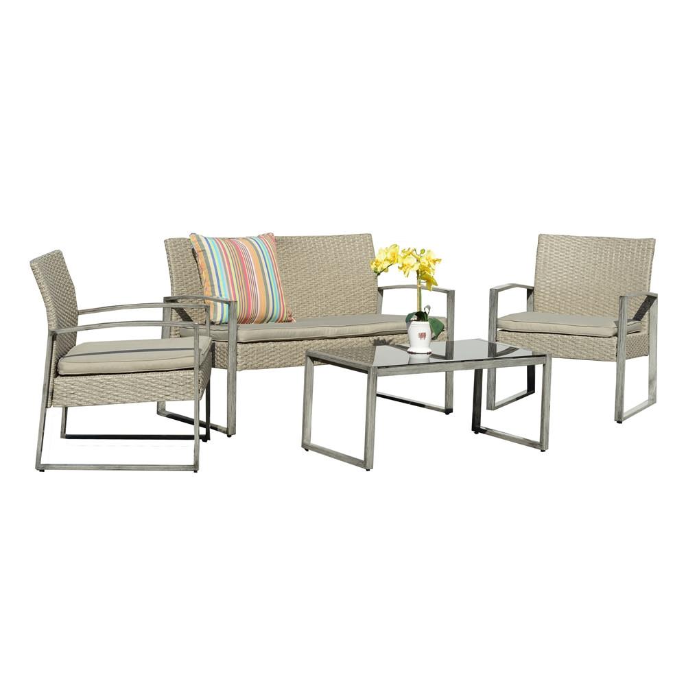 Thy hom rome 4 piece wicker conversation set 4 5 for Hom furniture inc