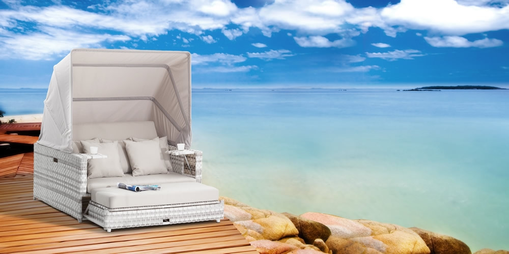 Domus Ventures Beach Wicker Daybed With Canopy Wicker