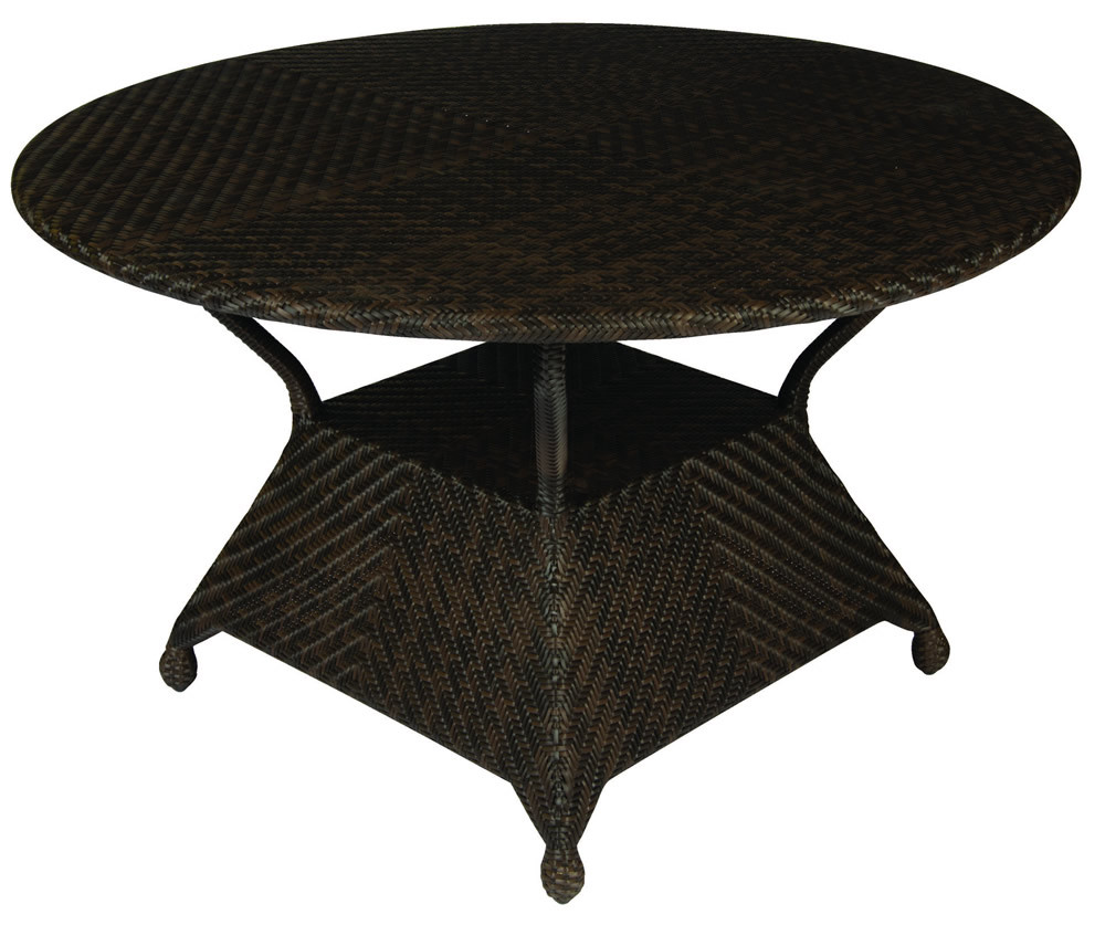 Round Wicker Dining Table: WhiteCraft By Woodard Boca Round Wicker Dining Table