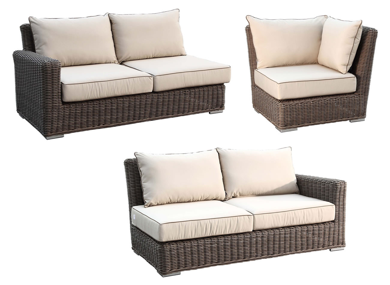 Sunset West Coronado 3 Piece Wicker Sectional Set