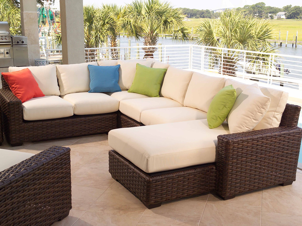 Lloyd Flanders Contempo 5 Piece Wicker Sectional Set : wicker sectional - Sectionals, Sofas & Couches