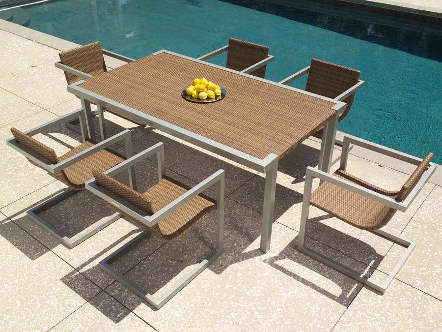 WhiteCraft by Woodard Sheridan 7 Piece Wicker Dining Set - Whitecraft By Woodard All Weather Wicker Sheridan 7-Piece Dining Set