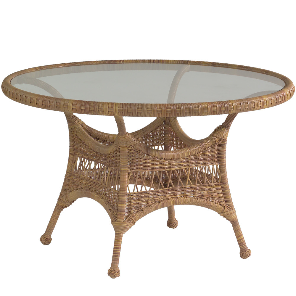 Whitecraft by woodard sommerwind wicker 48 round dining for Wicker patio table