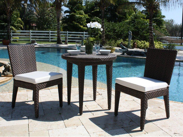 Hospitality Rattan Soho 3 Piece Wicker Side Chair Bistro Set ...