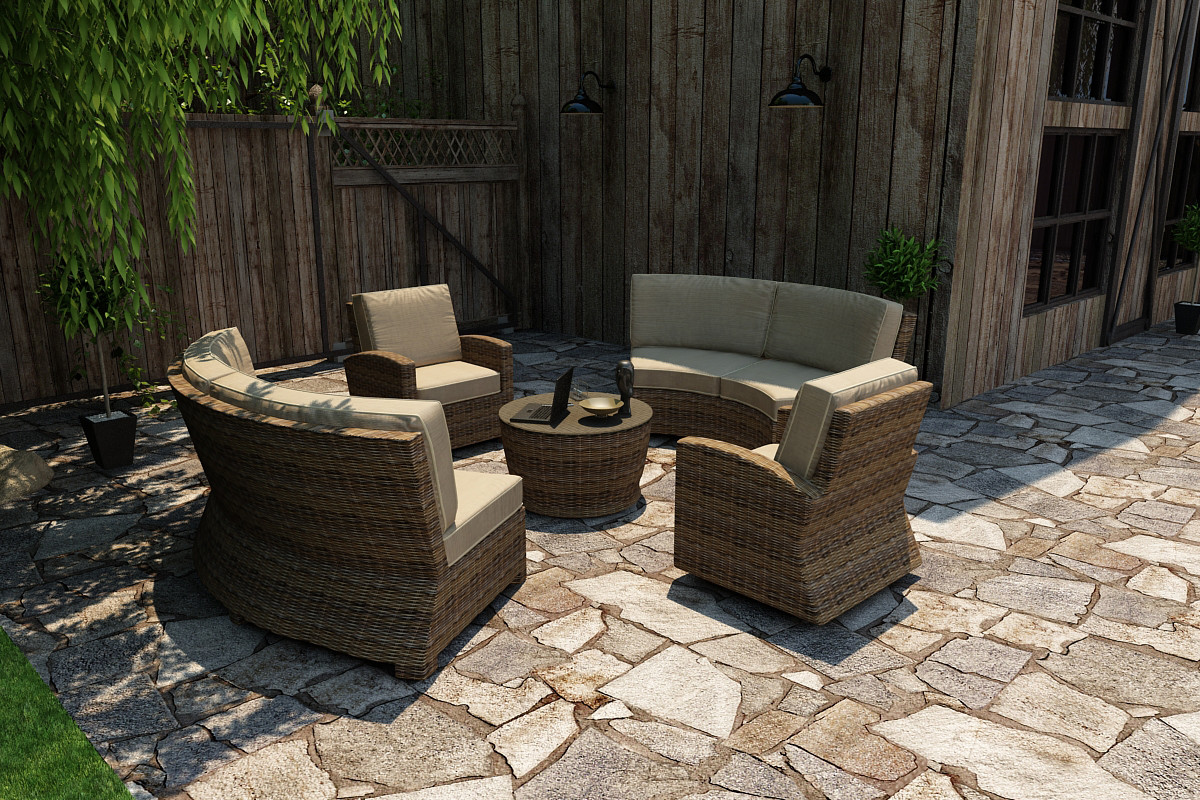 Forever Patio Cypress 5 Piece Sectional Set - Wicker.com on 5 Piece Sectional Patio Set id=74667