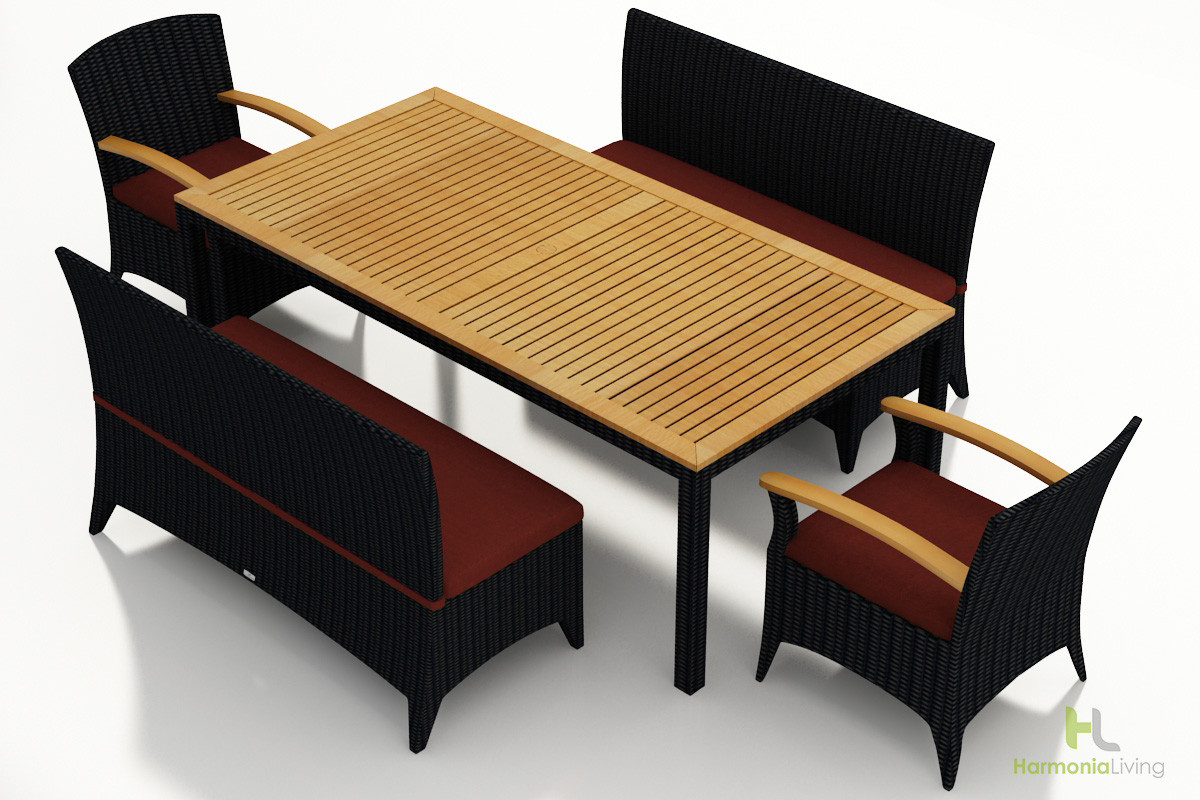 Harmonia Living Arbor Coffee Bean 5 Piece Bench Dining Set