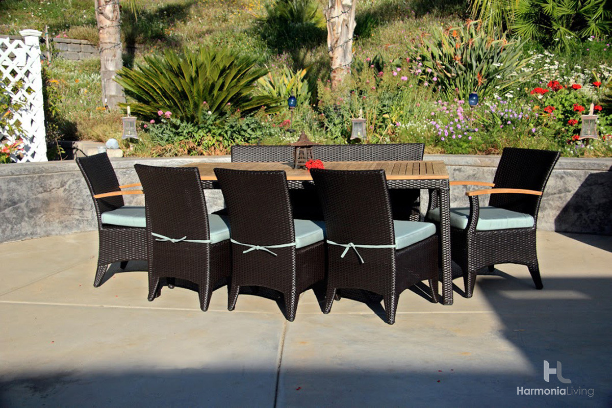 Harmonia living arbor coffee bean 7 piece bench dining set for 7 piece dining set with bench