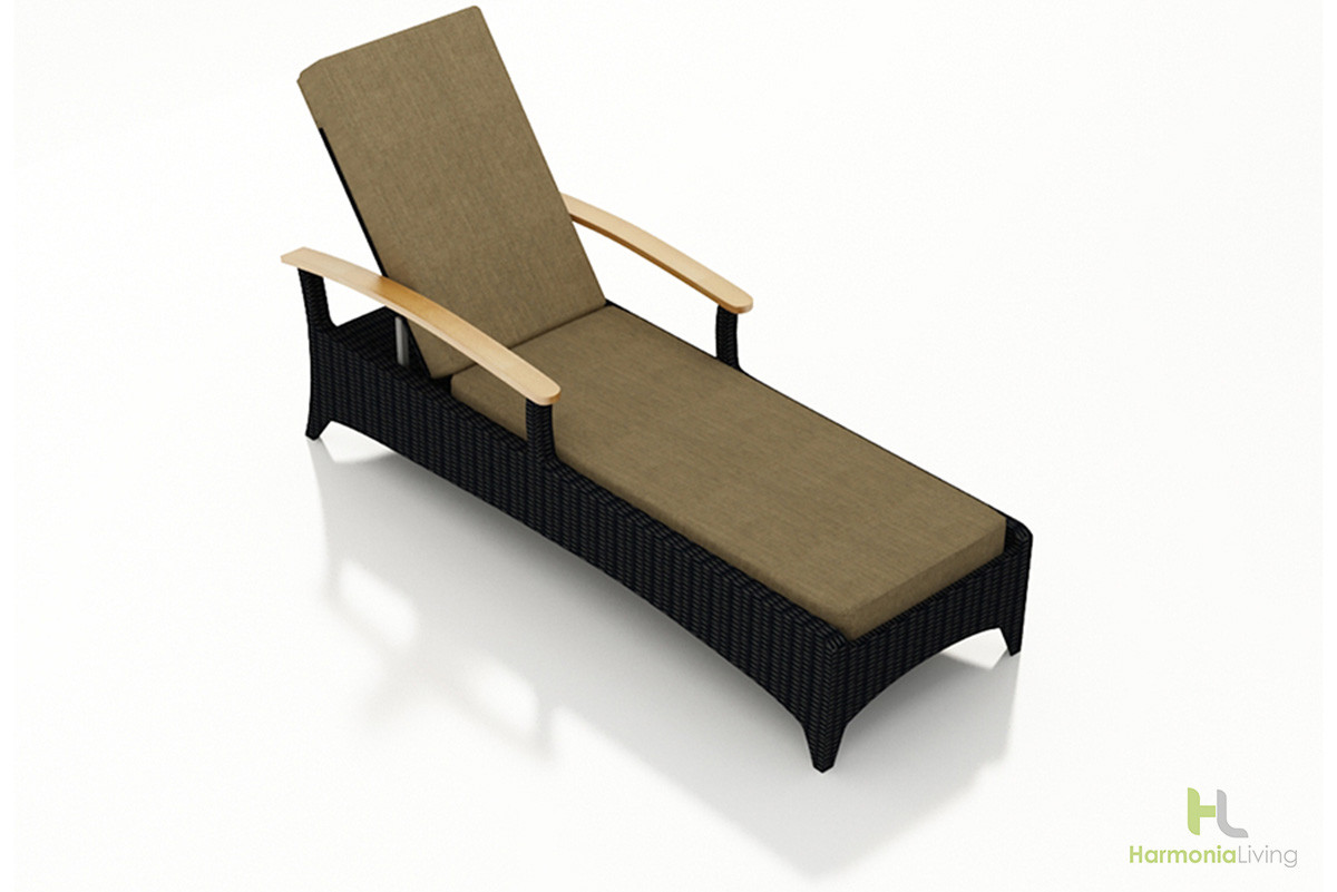 Harmonia Living Arbor Coffee Bean Reclining Chaise Lounge Wicker