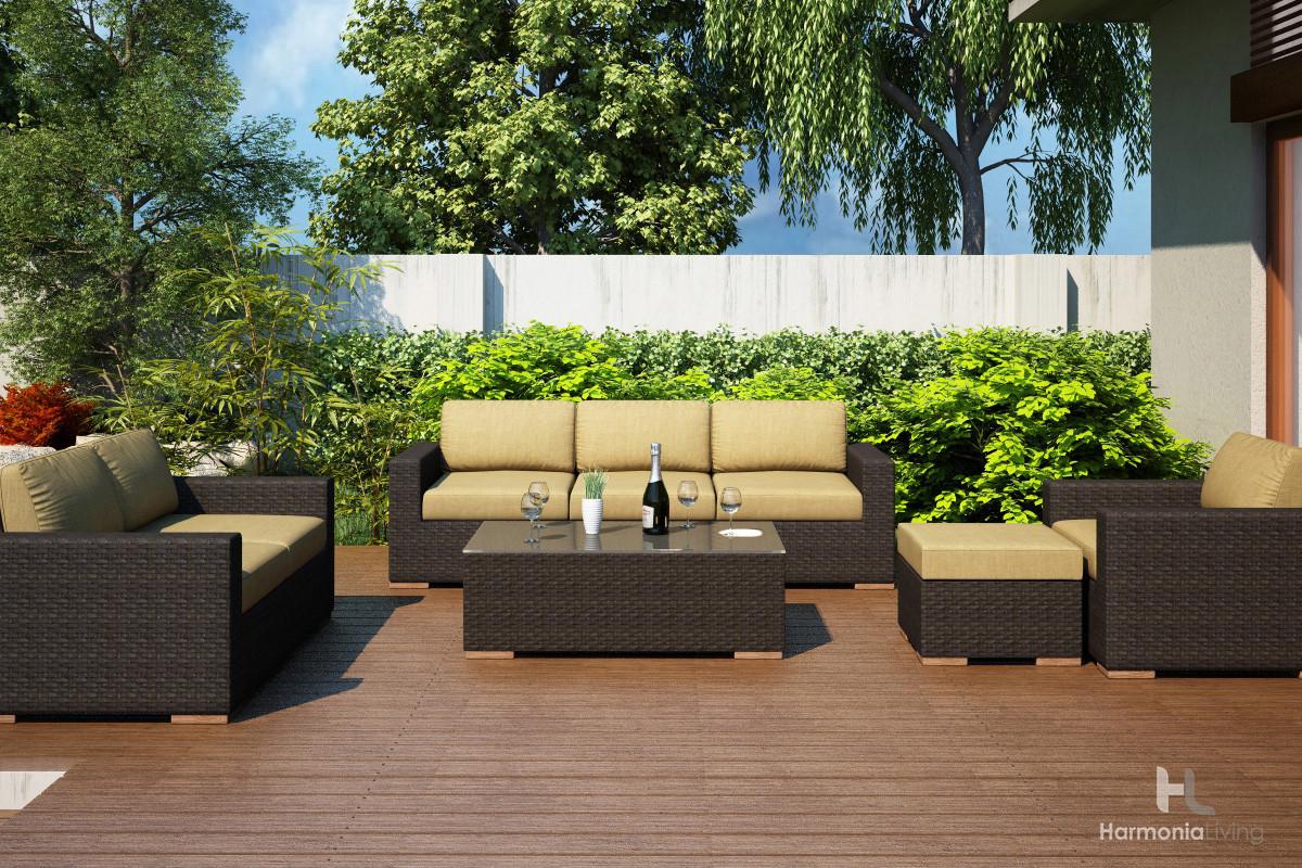 Harmonia Living Arden 5 Piece Sofa Set Wicker Com