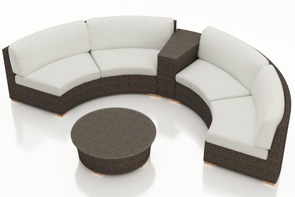 harmonia living arden 4 piece wicker curved sectional set