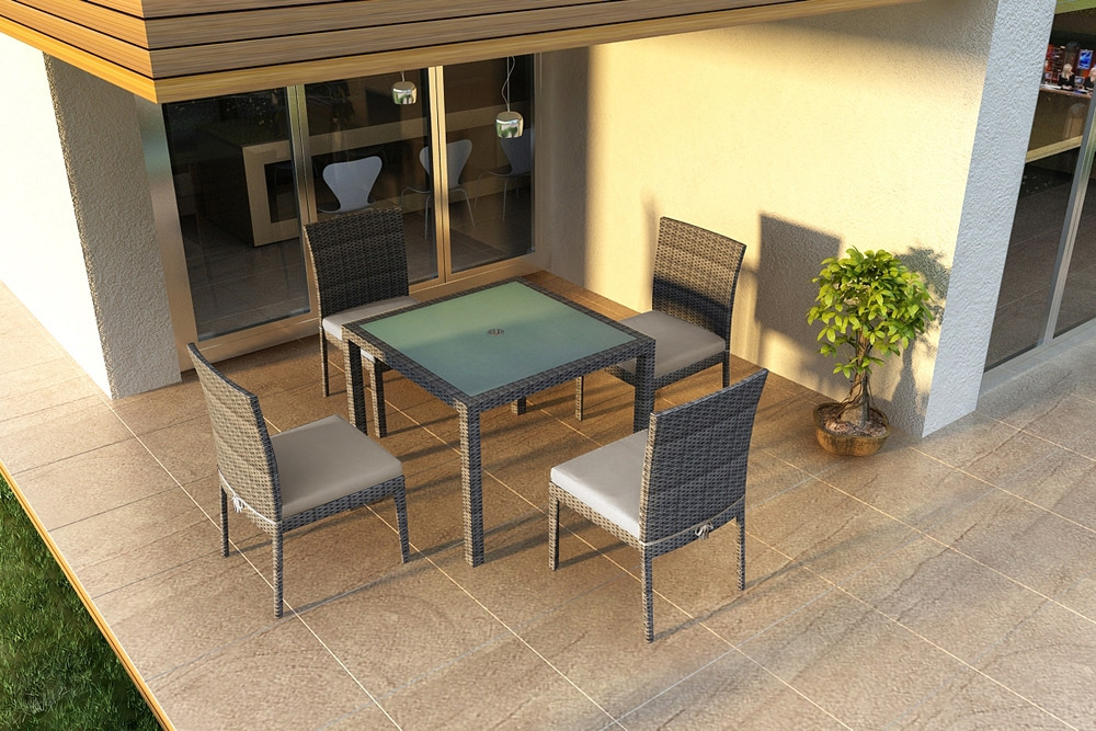 Harmonia Living District 5 Piece Armless Wicker Dining Set