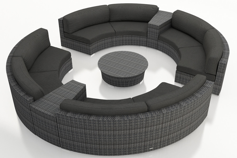 Harmonia Living District 7 Piece Wicker Curved Sectional