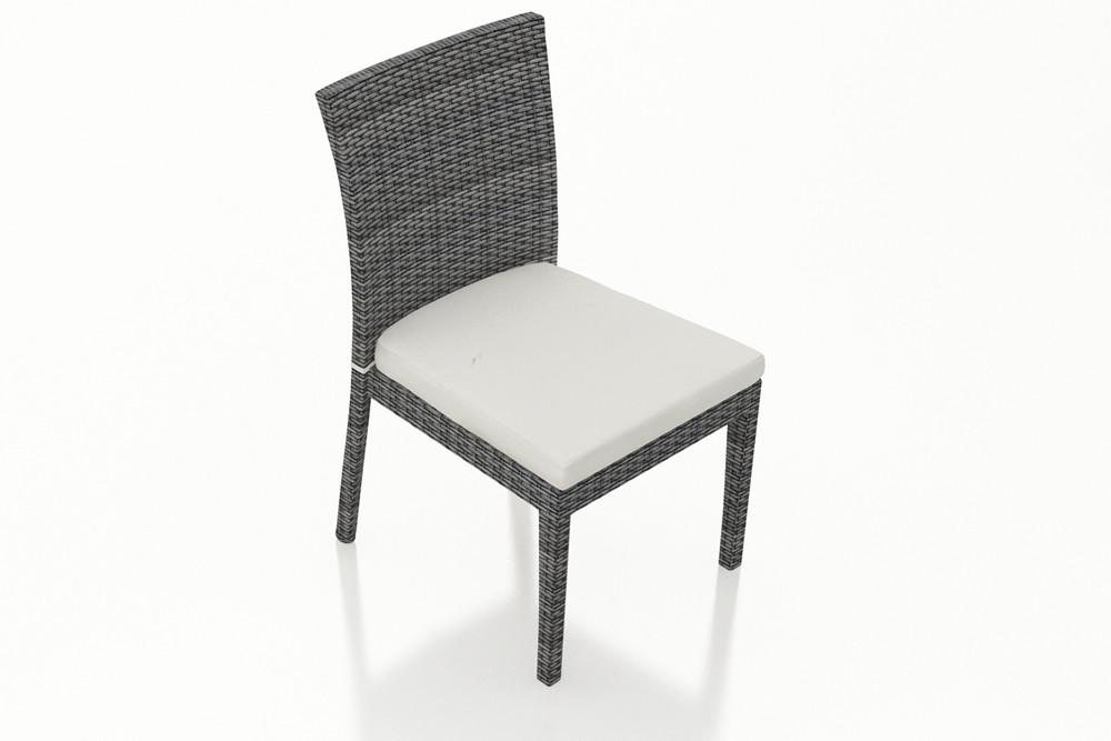 Harmonia Living District Wicker Armless Dining Chair   Custom Cushion Fabric