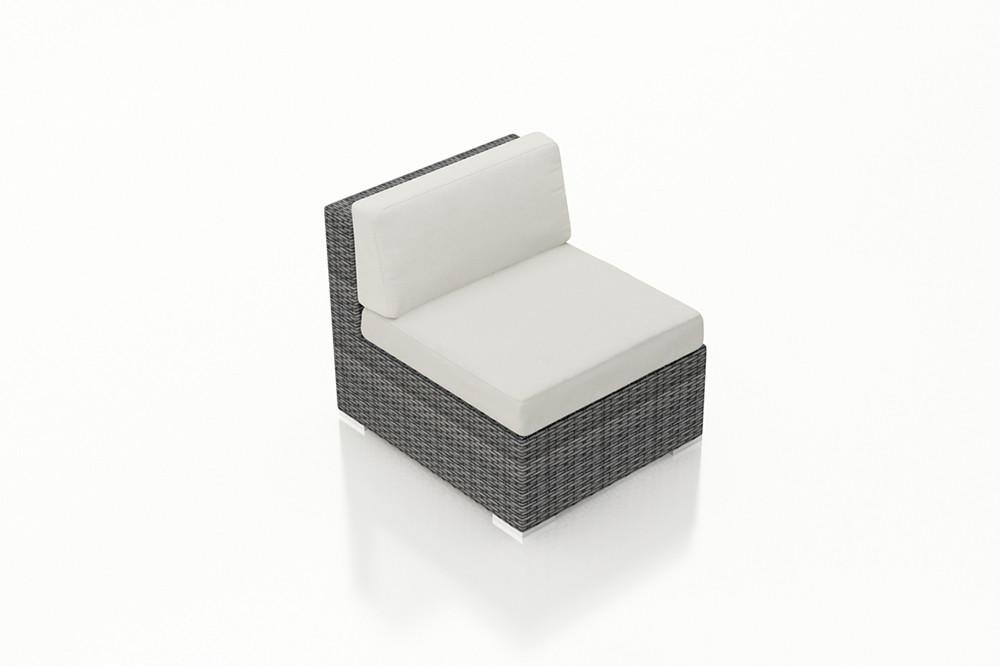 Harmonia Living District Wicker Armless Lounge Chair   Custom Cushion Fabric