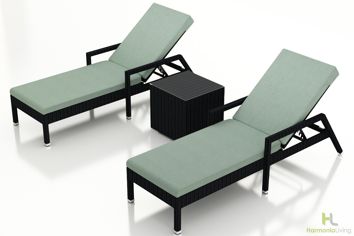 Harmonia living urbana 3 piece reclining chaise lounge set for Chaise 3 pieds