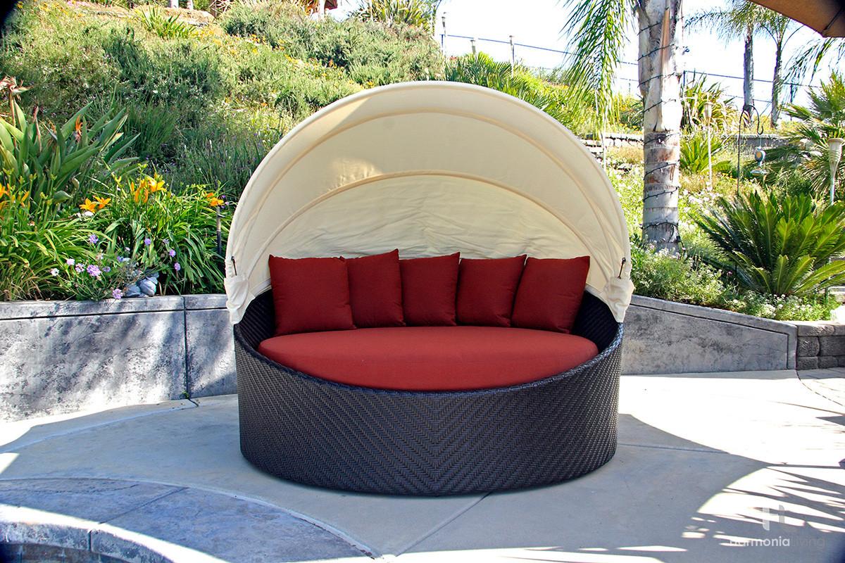 harmonia living wink coffee bean wicker daybed sunbrella canvas henna - Garden Furniture Pod