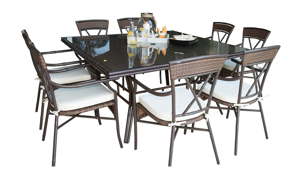 Panama Jack Rum Cay 9 Piece Wicker Dining Set Traditional Sets