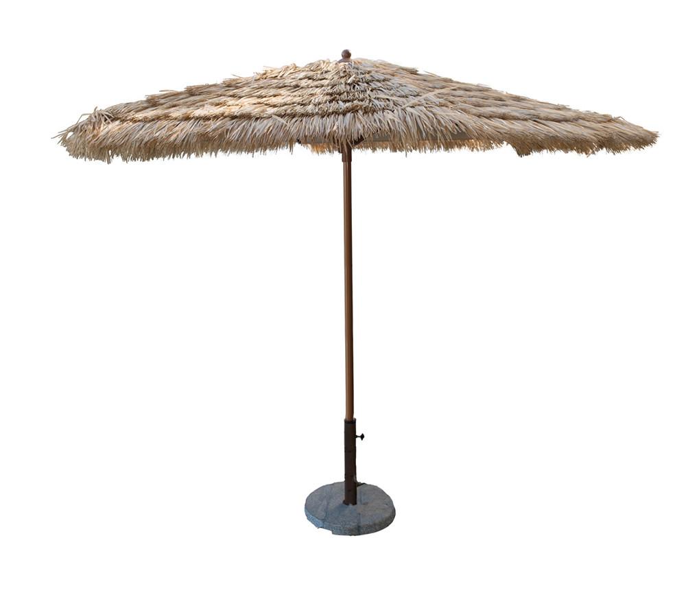 Panama Jack 9 Tiki Thatch Aluminum Crank Umbrella