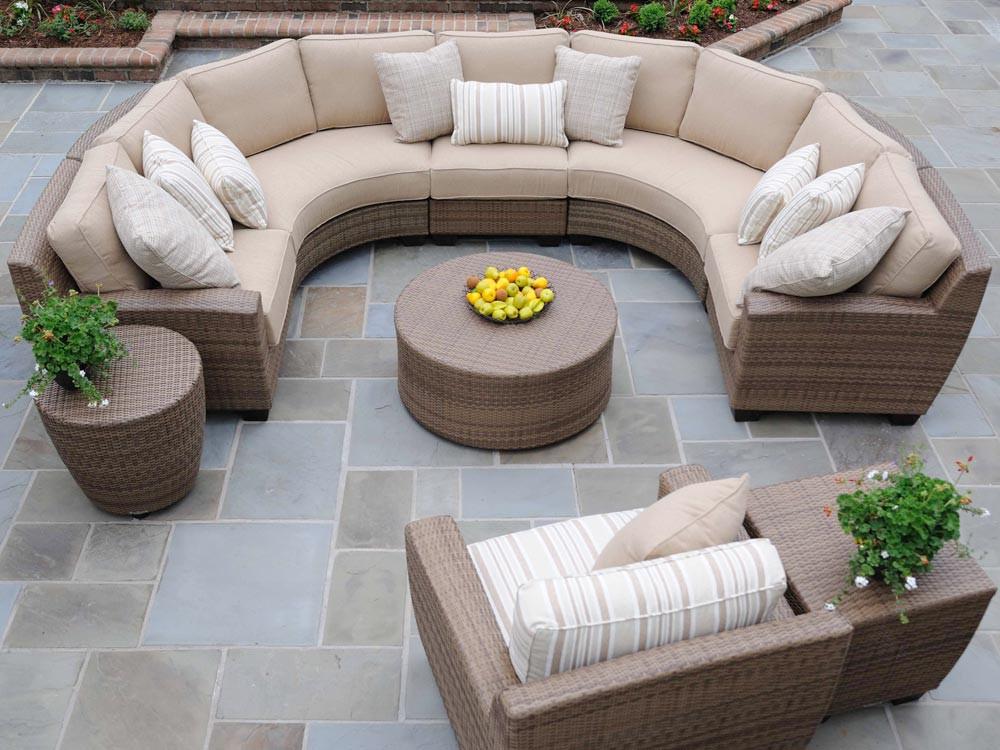 WhiteCraft By Woodard Saddleback Wicker Circular Sectional Sofa