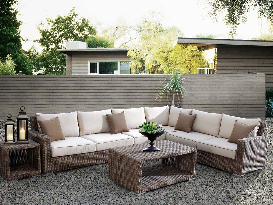 Sunset west coronado 6 piece wicker sectional sofa set for Sillones de rattan