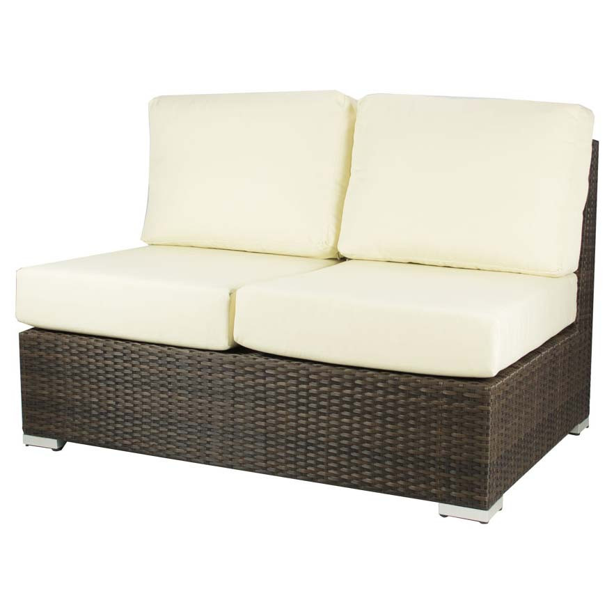 Source outdoor lucaya wicker armless love seat Garden loveseat