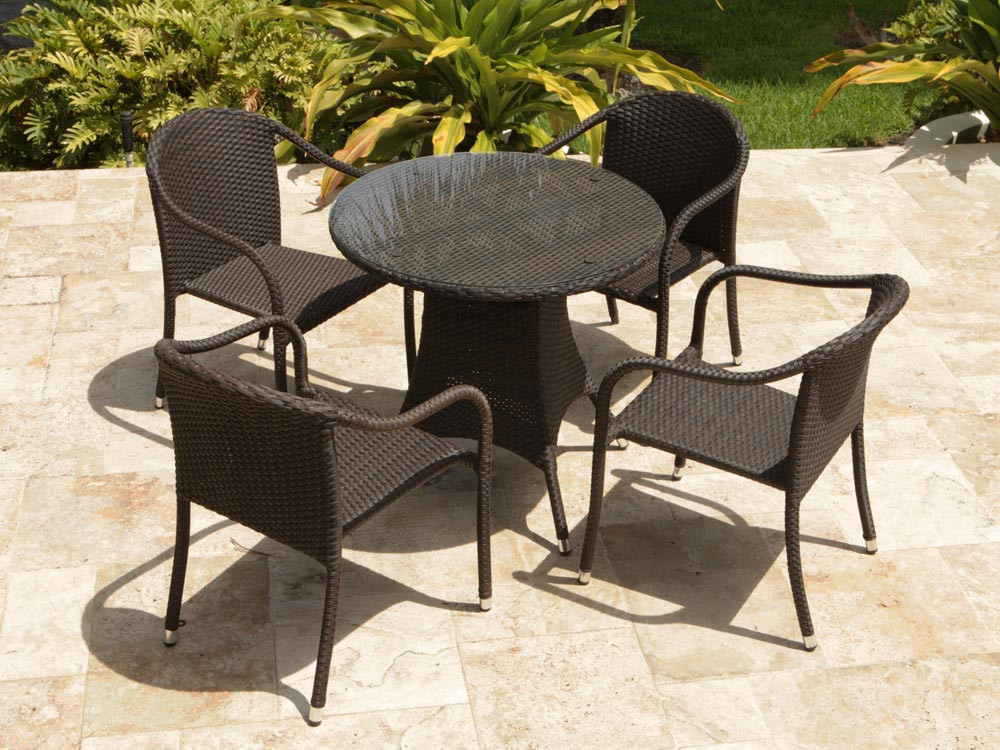 Source Outdoor Circa 5 Piece Wicker 32 Quot Bistro Set