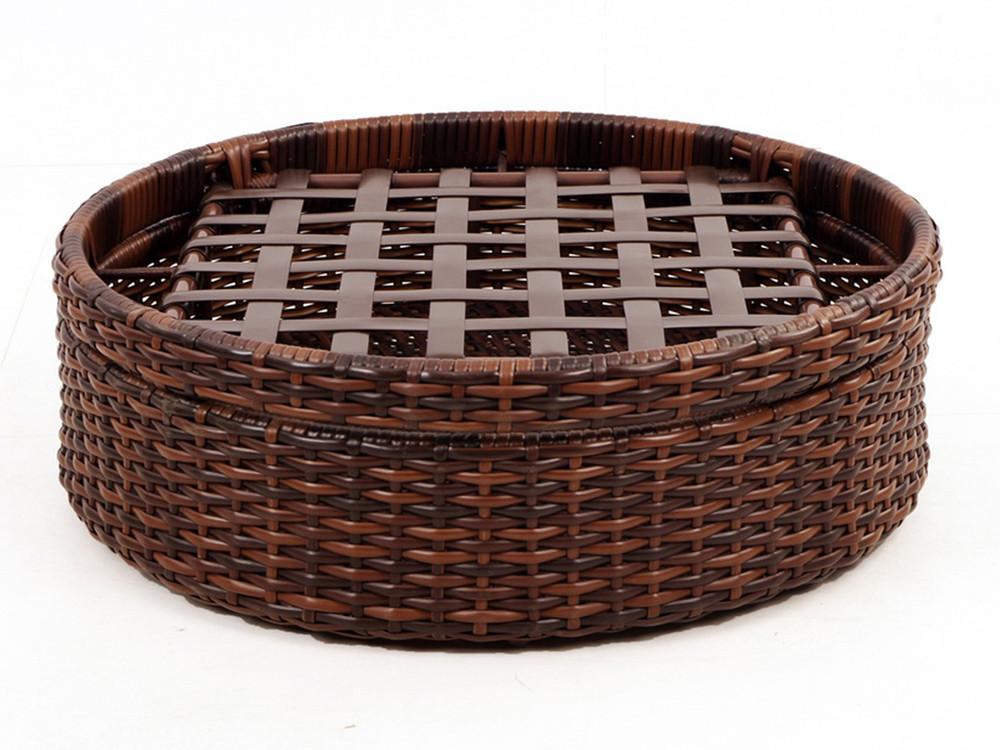 south sea rattan saint tropez wicker round ottoman. Black Bedroom Furniture Sets. Home Design Ideas