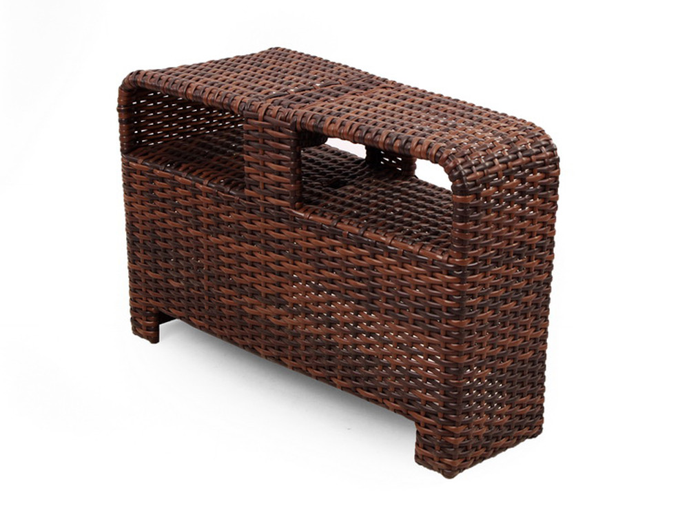 South sea rattan saint tropez wicker sectional wedge end for Sectional sofa with table wedge