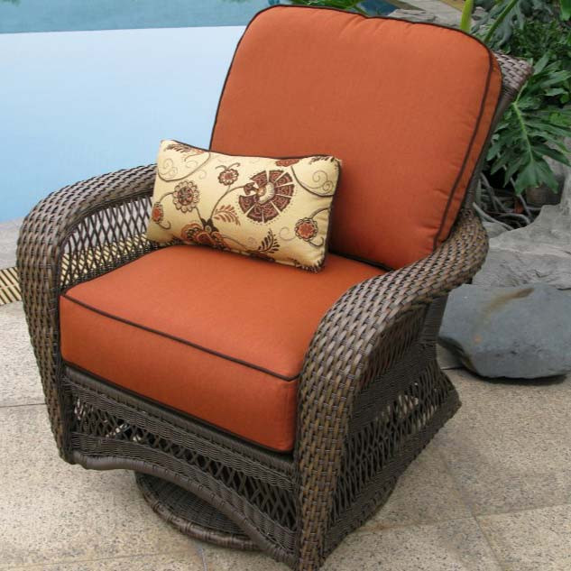 Good Longboat Key Incline Wicker Swivel Glider