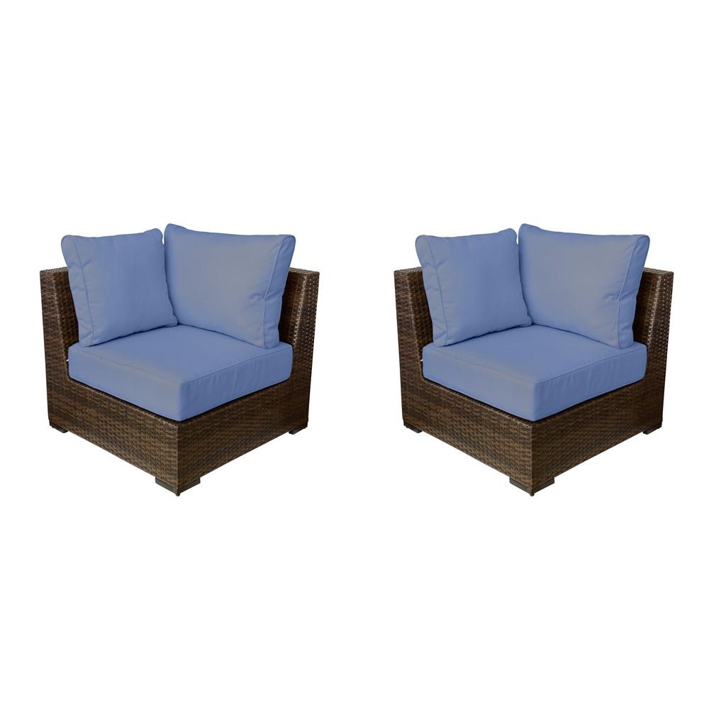 Vida Outdoor Pacific Wicker Corner Chair Pair Wicker