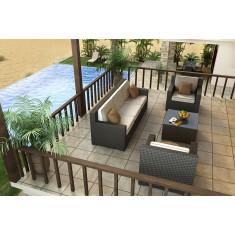 Forever Patio Hampton 4 Piece Wicker Conversation Set
