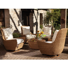 Lloyd Flanders Tobago 5 Piece Wicker Conversation Set