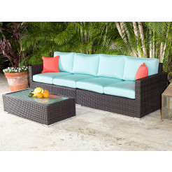 source outdoor lucaya 3 piece wicker sectional set