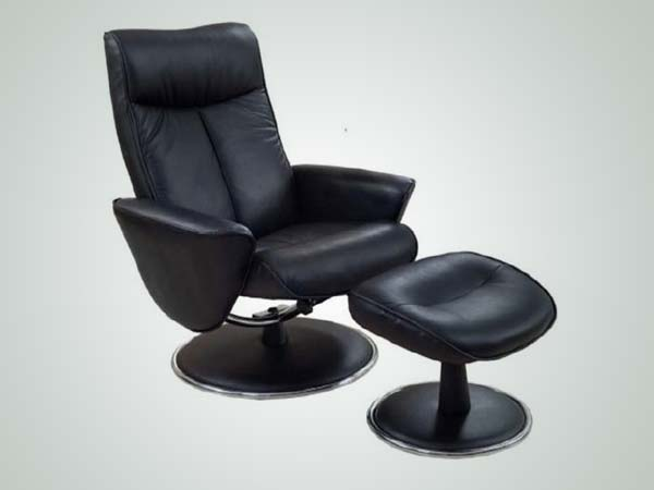 Mac Motion Black Bonded Leather Swivel Recliner with Ottoman